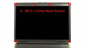Remove the 6 - M2.5 x 4.5mm bezel screws.
