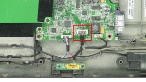 Unplug the Wifi catcher / audio circuit board cable.