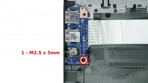 Remove the 1 - M2.5 x 5mm screw & loosen the circuit board but do not unplug the cable.