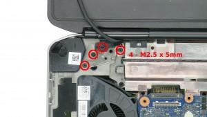 Remove the 4 - M2.5 x 5mm left hinge screws.