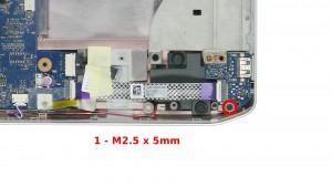 Remove the 1 - M2.5 x 5mm screw.