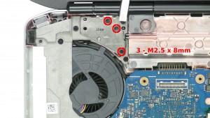 Remove the 3 - M2.5 x 8mm left hinge screws.