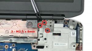 Remove the 3 - M2.5 x 8mm right hinge screws