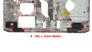 Remove the 4 - M2 x 2mm Wafer speaker screws.