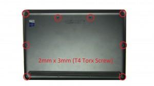 Unscrew an remove Bottom Base Cover (8 x 2mm x 3mm T4 torx) (2 x 2mm x 6mm T4 torx).