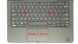 Unscrew palmrest and keyboard screws (4 x M2 x 3mm).