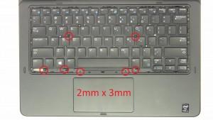 Unscrew palmrest and keyboard screws (7 x M2 x 3mm).