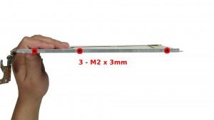 Remove the 6 - M2 x 3mm hinge rail screws.