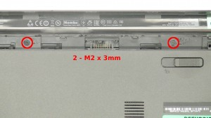 Remove the 2 - M2 x 3mm screws under the battery.