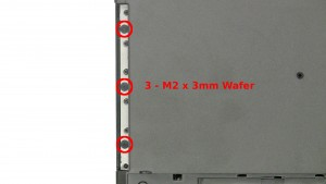Remove the 3 - M2 x 2mm Wafer screws under the optical drive.