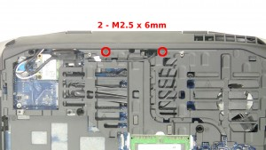 Remove the 2 - M2.5 x 6mm hinge screws.