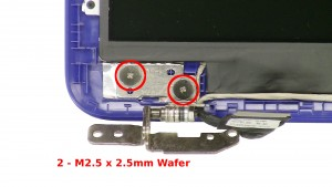 Remove the 2 - M2.5 x 2.5mm Wafer left hinge screws.