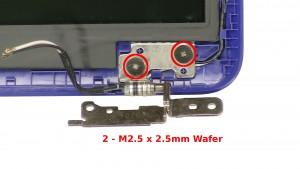 Remove the 2 - M2.5 x 2.5mm Wafer right hinge screws.