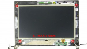 Remove the 4 - M2.5 x 5mm LCD screen screws.