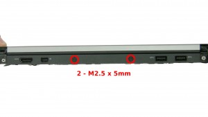 Remove the 2 - M2.5 x 5mm back edge dock frame screws.