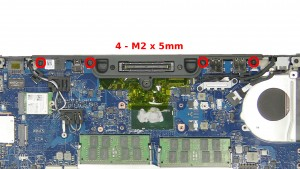 Remove the 4 - M2 x 5mm bottom dock frame screws.