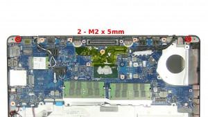 Remove the 2 - M2 x 5mm bottom hinge screws.
