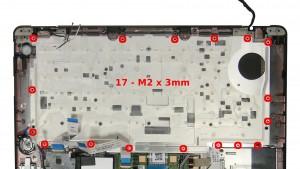 Remove the 17 - M2 x 3mm keyboard bracket screws.