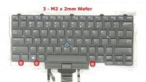 Remove the 3 - M2 x 2mm Wafer bottom keyboard screws.