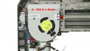 Remove the 2 - M2.5 x 6mm right fan screws.