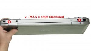 Remove the 2 - M2.5 x 5mm (machined head) back hinge screws.