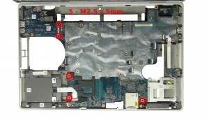 Remove the 5 - M2.5 x 5mm motherboard screws.
