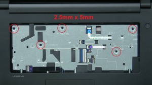 Remove Palmrest screws (5 x