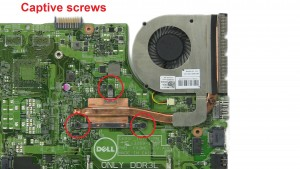 Unscrew and remove Heatsink & Fan (Captive screws).