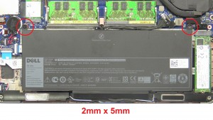 Unscrew battery (2 x M2 x 5mm).