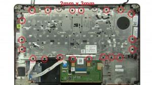 Unscrew and remove keyboard bracket (20 x M2 x 3mm).