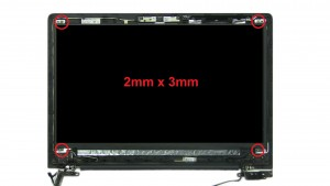 Unscrew and turn over LCD screen (4 x M2 x 3mm).