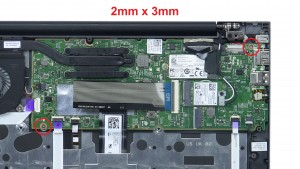 Unscrew motherboard (2 x M2 x 3mm).