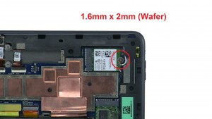 Unscrew and remove WLAN Card (1 X 1.6mm x 2mm wafer).