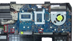 Unscrew and remove Motherboard (6 x