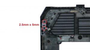 Remove DC jack screws (2 x M2.5 x 5mm).