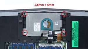 Unscrew and remove hard drive (4 x M2.5 x 6mm).