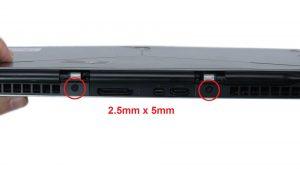 Remove rear hinge screws (2 x M2 x 5mm).