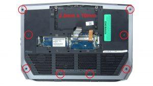 Remove palmrest screws (8 X 2.5mm x 10mm) (4 x M2 x 8mm).
