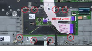 Unscrew and remove bracket and Touchpad (8 x