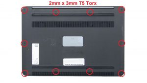 Lift open badge door and remove screws (2 x M2.5 x 6mm).