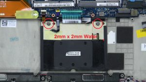 Unscrew and remove touchpad (2 x M2 x 2mm wafer).