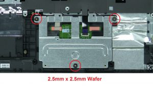 Unscrew touchpad cover (3 x M2.5 x 2.5mm wafer).