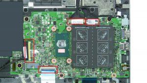 Remove motherboard screws (2 x M2 x 3mm) (4 x