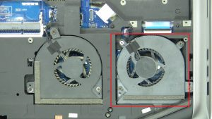 Unscrew cooling fan (Captive screws).