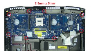 Unscrew and remove Motherboard (8 x