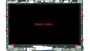 Unscrew and turn over screen (6 x M2 x 3mm) (2 x