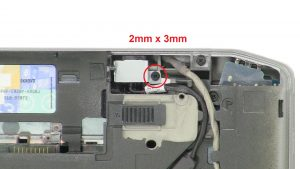 Unscrew and remove bracket (1 x M2 x 3mm).