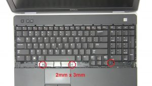 Unscrew and turn over Keyboard (3 x M2 x 3mm).