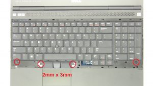 Unscrew and turn over keyboard (4 x M2 x 3mm).