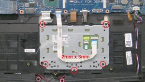 Unscrew and disconnect touchpad (5 x M2 x 3mm).
